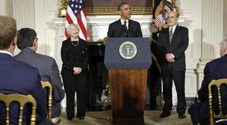 President Obama announced his nomination of Janet Yellen to succeed Ben Bernanke (right) at the Fed.
